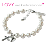 Parel communie armband met bedels