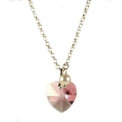 Kinderketting Angel Eyes met roze kristallen hart